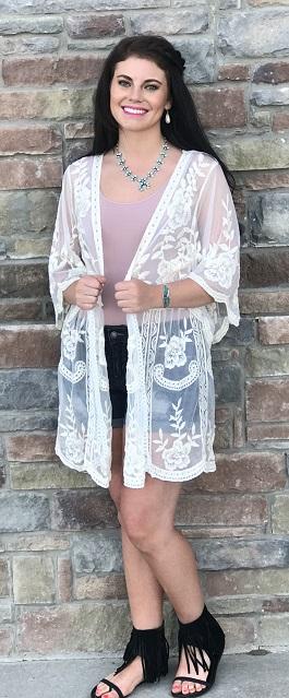 """Lillie"" Natural Lace Embroidered Kimono"