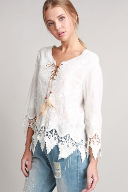 """Day Dreamer"" White Crochet Top With Leather Lace Up Detail"