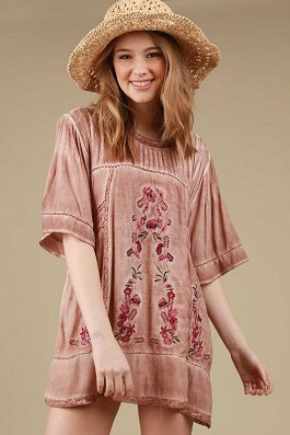 """Paisley"" Mauve Embroidered Pintucked Detailed Top"