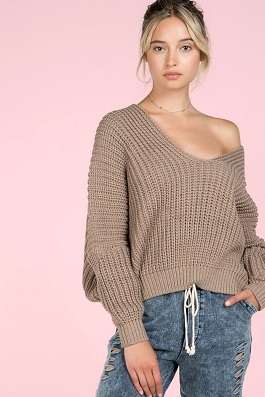 """Devin"" Mocha Cable Deep V Dolman Sweater"