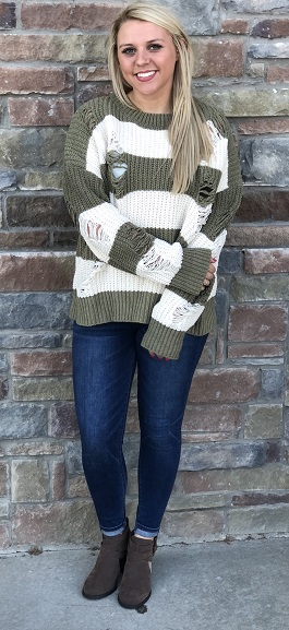 """Rugged Day"" Olive & Ivory Distressed Sweater"