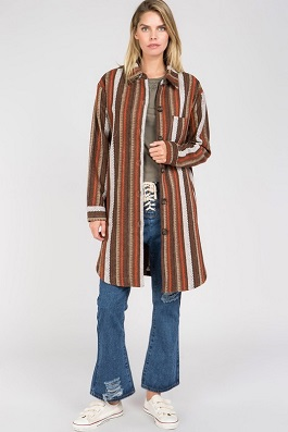 """Santa Fe Days"" Brown Woven Button Down Trench Coat"
