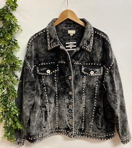 """Better With Studs"" Vintage Black Studded Corduroy Jacket"