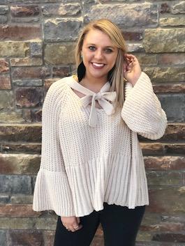 """Hailey"" Cream Tie Front Sweater"