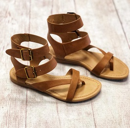 Tan Buckle Gladiator Style Sandal