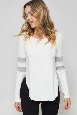"""Varsity Girl"" White Pin Strip Top With Slit Sides"
