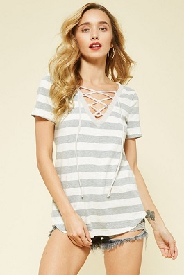 """Jada"" Grey Striped Lace Up SS Top"