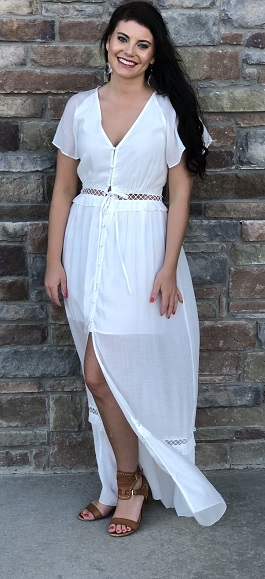 """Backyard Dreams""  White Maxi Dress With Cutout Detail"