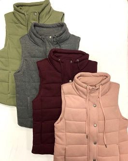 Solid Color Puffer Vest