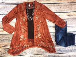 """Fall Beauty"" Rust Embroidered Suede Cardigan"