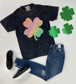 Rainbow Clover Acid Wash T-Shirt
