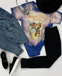 """Amarillo Ranch Rodeo"" Bleach Splatter Graphic T-Shirt"