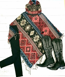 """Native Spirit"" Red Printed Fringed Poncho"