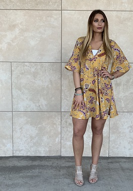"""Melody"" Mustard Paisley Floral V-Neck Dress"