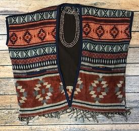 """""""Chimayo"""" Multi Rust Poncho Open Jacket"""