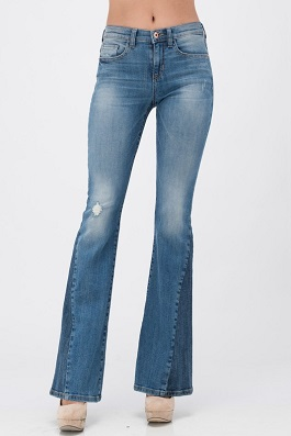 Two Tone Mid Rise Flare Jeans With Distressing