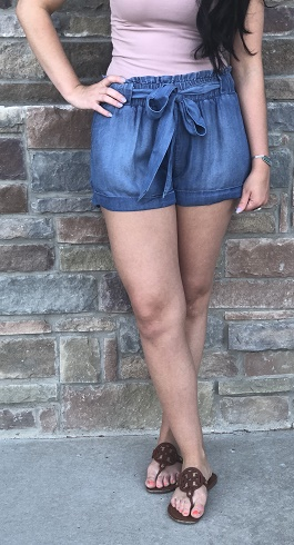 Tencel Tie Waist Denim Shorts