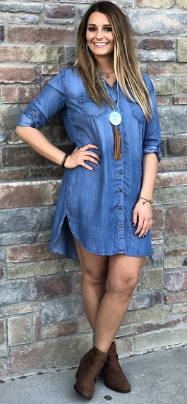 """Texas Lullaby"" Denim Button Down Dress"