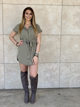 """Texas Rain"" Olive SS Belted Button Down Denim Dress"