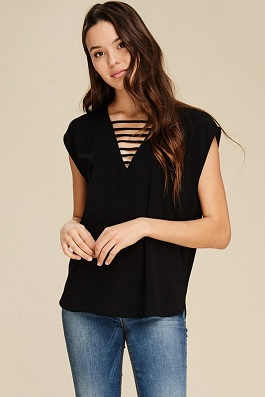 """Late Night"" Black Ladder V-Neck Top"