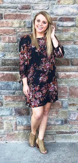 """Abbey"" Black Multi Floral Dress"