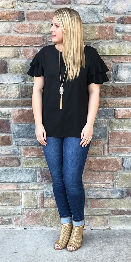 """Belle"" Black SS Ruffle Top W/Cutout Detail Back"