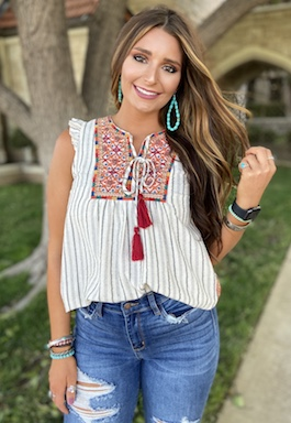 """""""Tuscon Nights"""" Black Striped Embroidered Detail Top"""