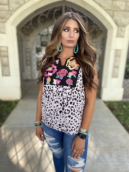 """Wild Bloom"" Cheetah Floral Embroidered Top"