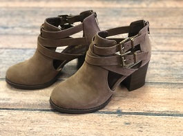 Brown Double Buckle Bootie