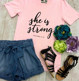 """""""She Is Strong"""" Pink Cap Sleeve T-Shirt"""