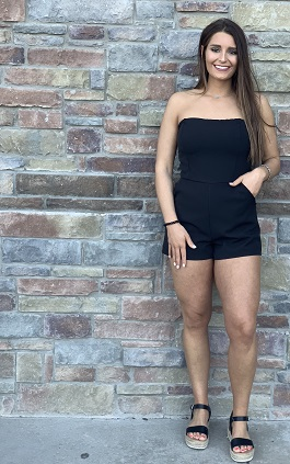 """""""Night Out"""" Strapless Black Romper"""