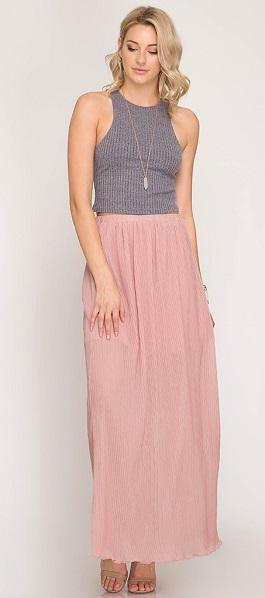 """""""Rosebud"""" Rose Textured Maxi Skirt"""