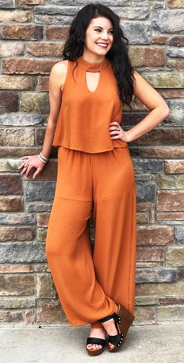 """Honey"" Caramel Sleeveless Layered Mock Neck Jumpsuit"
