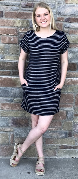 """Walk With Me"" Navy Striped Pocket T-Shirt Dress"