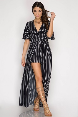 """Hayden"" Navy Striped Romper With Maxi Skirt Detail"