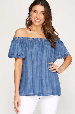 """""""Casually Yours"""" Off Shoulder Chambray Top"""