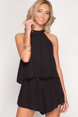 """Kiss Me"" Black Sleeveless Layered Romper"