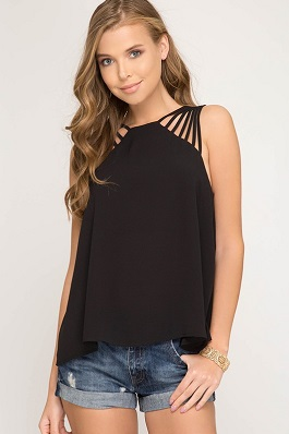 """Mandy"" Black Strappy Detail Sleeveless Top"