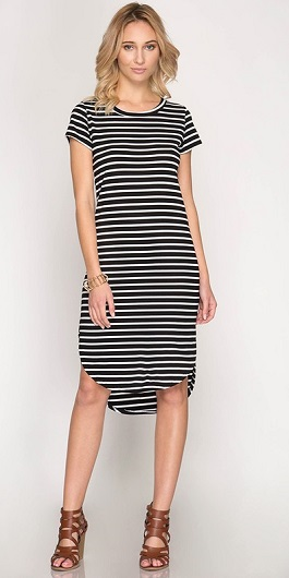 """Walk the Line"" Black & White Striped Dress W/ Rounded Hem"