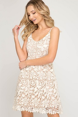 """The One"" Cream Sleeveless Crochet Lace Fit & Flare Dress"
