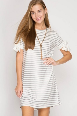 """Walk With Me"" Grey Striped Dress With Sleeve Ties"