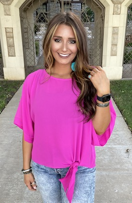 """Shaylee""  Hot Pink Tie Front  Top"
