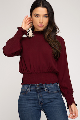 """Kinley"" Wine Smocked Waistline Top"