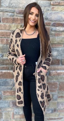 """""""Jamie"""" Leopard Fuzzy Long Cardigan"""