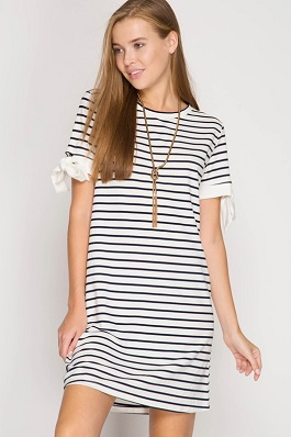 """Walk With Me"" Striped Dress With Sleeve Ties"