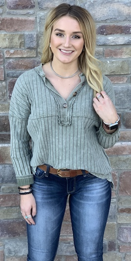 """""""Olive You"""" Olive Ribbed Long Sleeve Top"""