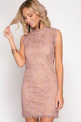 """Perfect Illusion"" Mauve Slvless Lace Bodycon Dress"
