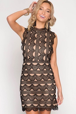 """Perfect Illusion"" Black Slvless Lace Bodycon Dress"