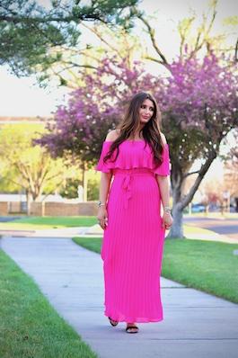 """""""Everyday Magic"""" Hot Pink Off Shoulder Maxi Dress"""