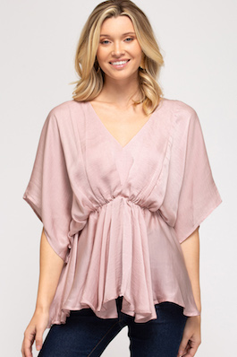 """Shy Kisses"" Rose Drop Shoulder Satin Top"